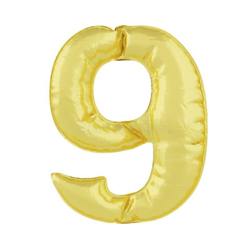 Metaalballon op een witte achtergrond Gouden nummer acht 9 Kortingen, verkoop, vakantie, verjaardagen vector illustratie