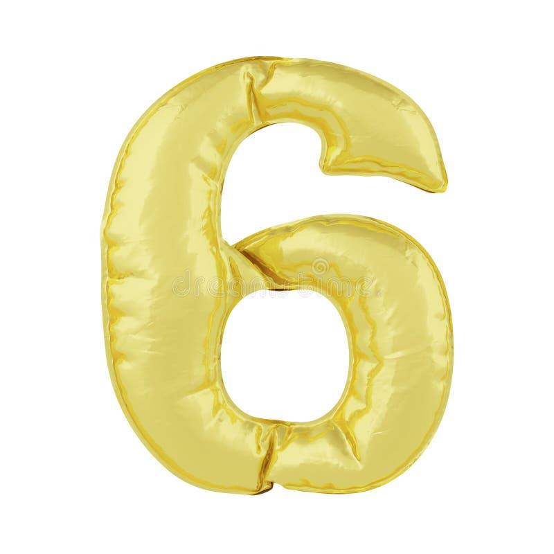 Metaalballon op een witte achtergrond Gouden nummer acht 6 Kortingen, verkoop, vakantie, verjaardagen vector illustratie