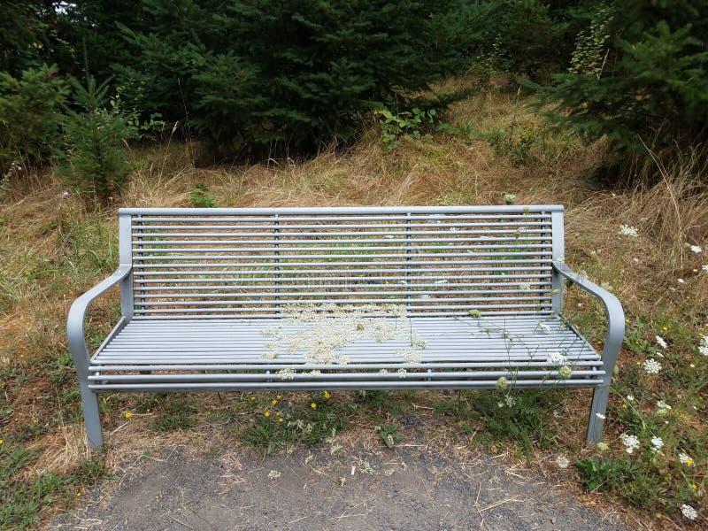 Metaalbank of stoel met grassen en onkruid die door groeien royalty-vrije stock afbeeldingen