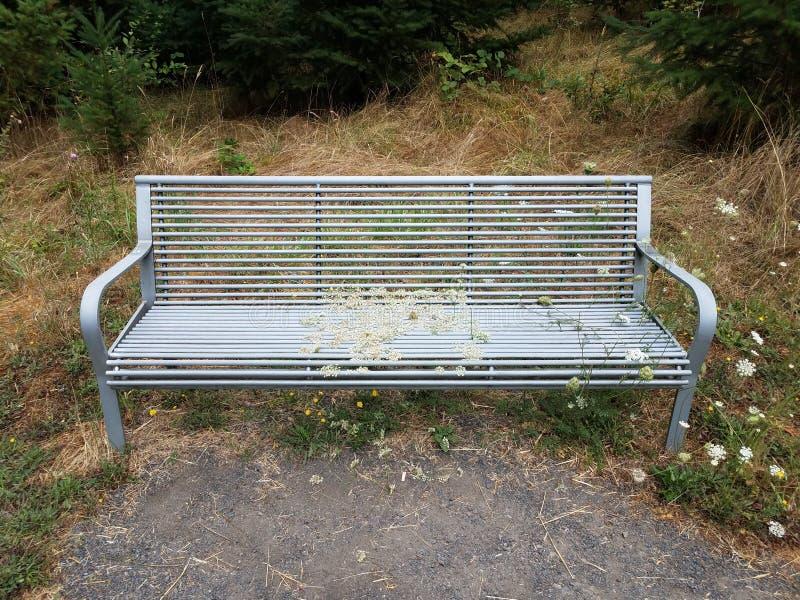 Metaalbank of stoel met grassen en onkruid die door groeien royalty-vrije stock foto