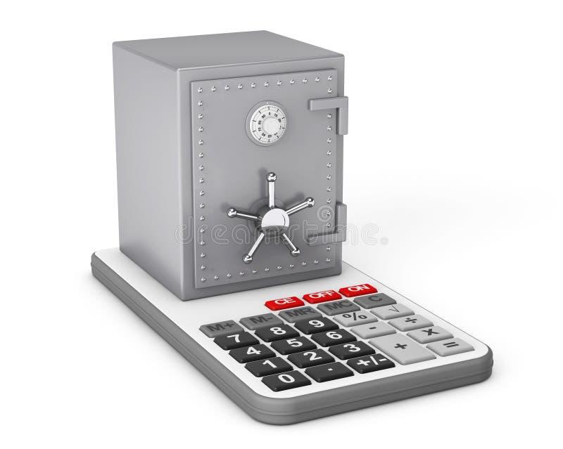 Metaalbankbrandkast over Calculator het 3d teruggeven stock illustratie