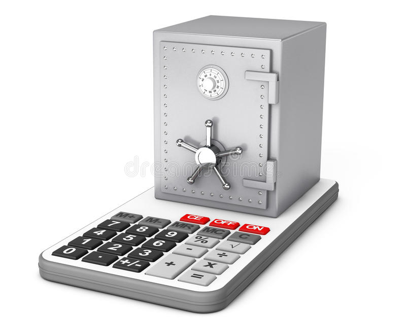 Metaalbankbrandkast over Calculator het 3d teruggeven vector illustratie