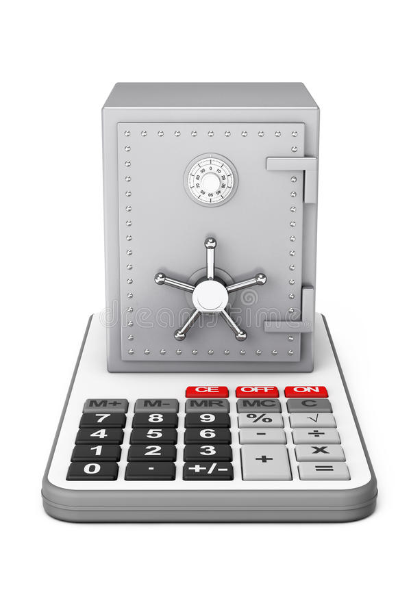 Metaalbankbrandkast over Calculator het 3d teruggeven stock illustratie