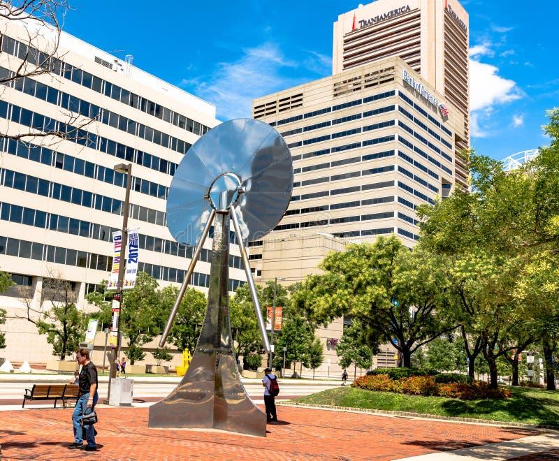Metaalbeeldhouwwerk in Baltimore stock foto