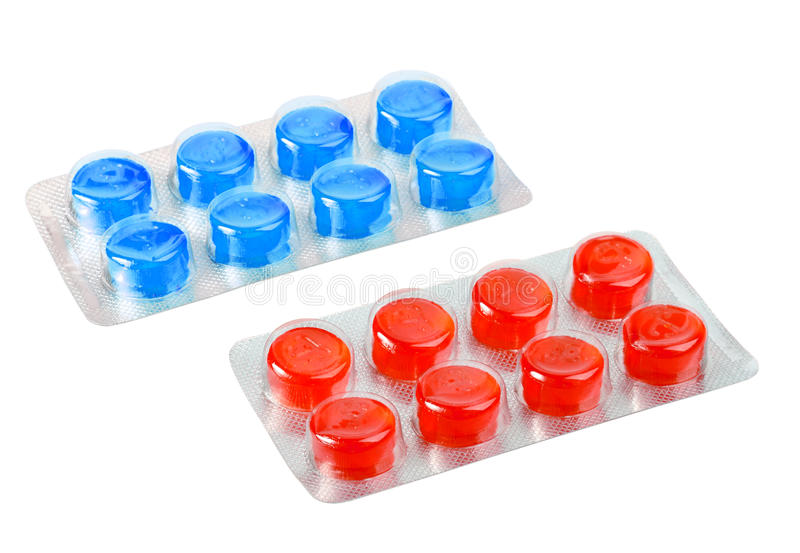 Metaalblaar twee met rode en blauwe pillen royalty-vrije stock afbeeldingen