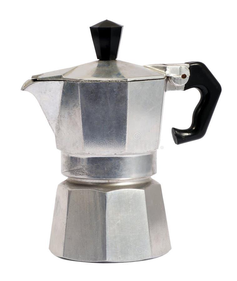 Metaalcaffettiera of koffiepercolator stock foto's