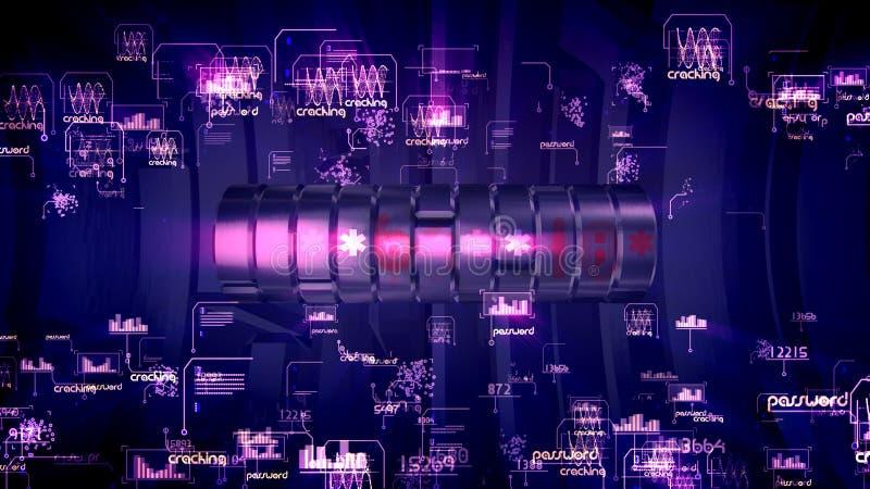 Metaalcilinderwachtwoord in violette achtergrond royalty-vrije illustratie