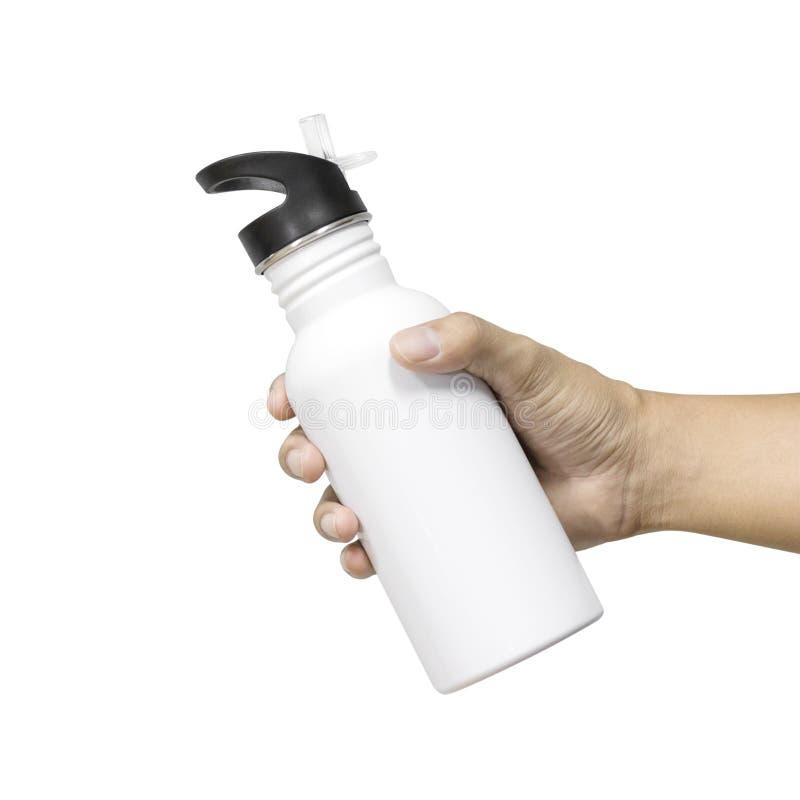 Metaalfles en plastic buis die op witte achtergrond wordt ge?soleerd Malplaatje van lege waterfles voor levensonderhoudtemperatuu royalty-vrije stock fotografie