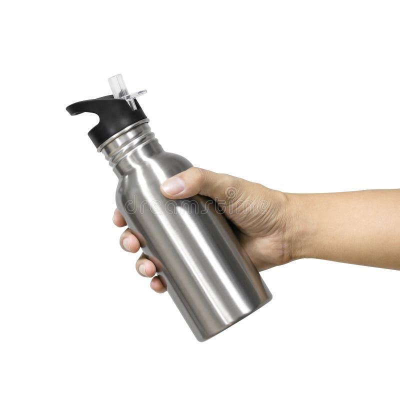 Metaalfles en plastic buis die op witte achtergrond wordt ge?soleerd Malplaatje van lege waterfles voor levensonderhoudtemperatuu stock fotografie