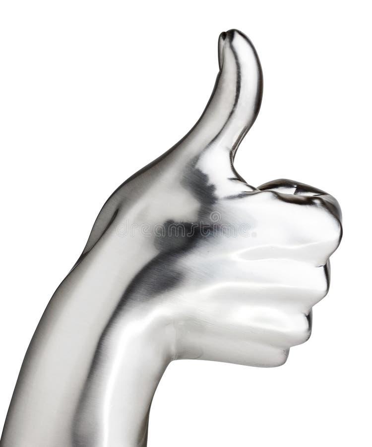 Metaalhand het tonen beduimelt omhoog gebaar stock afbeelding