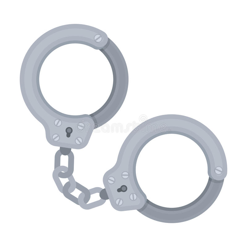 Metaalhandcuffs voor het vasthouden van misdadigers Uitrusting van een politieagent Gevangenis enig pictogram in vector het symbo vector illustratie
