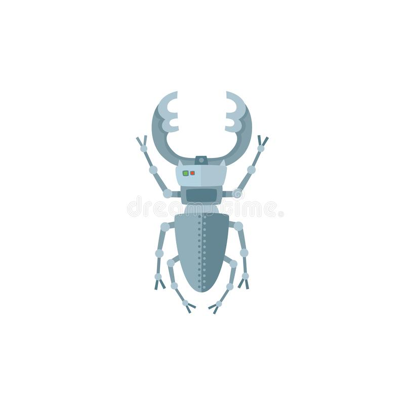 Metaalinsect, insect, het karakter van de keverrobot, stuk speelgoed vector illustratie