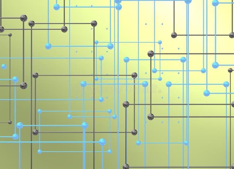 Metaalinterconnecties met ballen over zwarte achtergrond vector illustratie