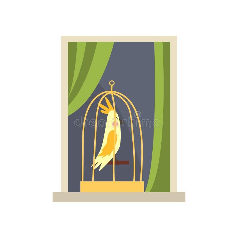 Metaalkooi met gele tropische vogel op vensterbank Mening over flatvenster van straat Beeldverhaal huisdier stock illustratie
