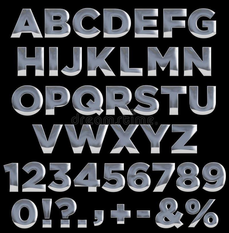 Metaalletters en getallen alfabet stock illustratie