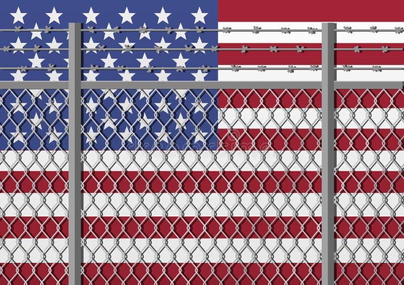 Metaalomheining met prikkeldraad op een vlag van de V.S. Scheidingsconcept, grenzenbescherming Sociale kwesties op vluchtelingen stock illustratie
