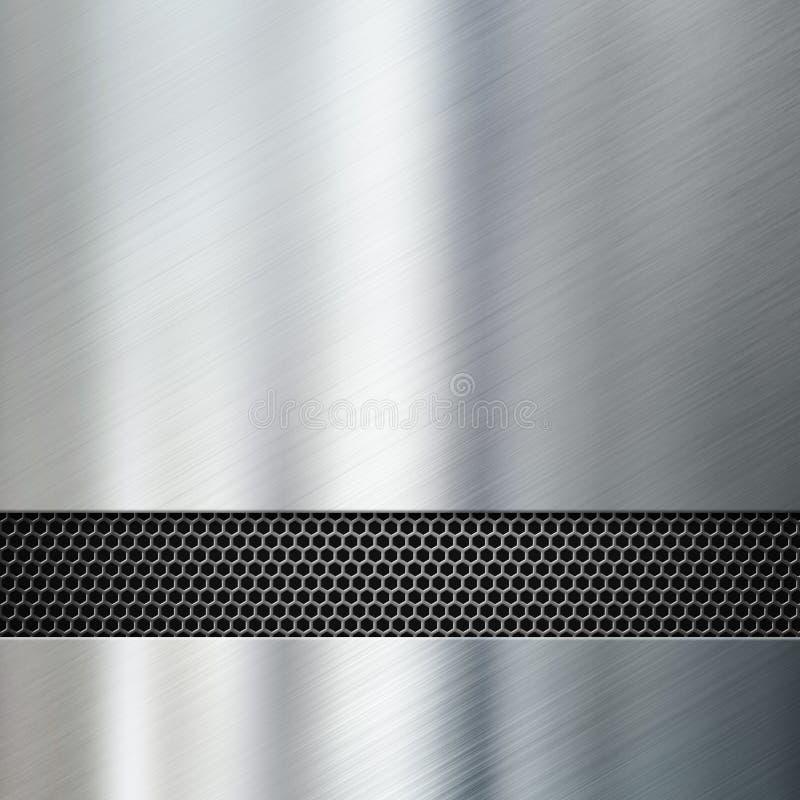 Metaalpanelen met hexadecimale net 3d illustratie royalty-vrije illustratie