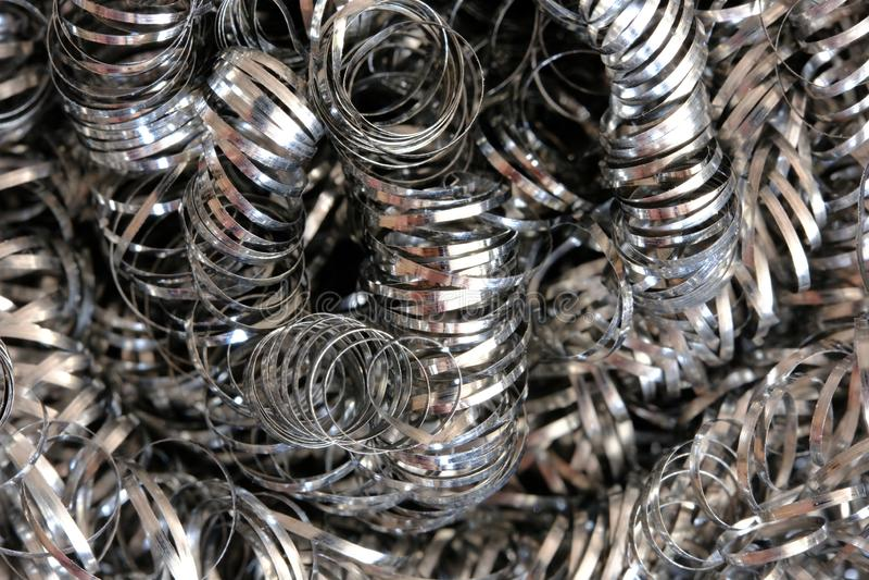 Metaalpannespons of spiraalvormige spaanders De macro van het hoge resolutieclose-up stock fotografie