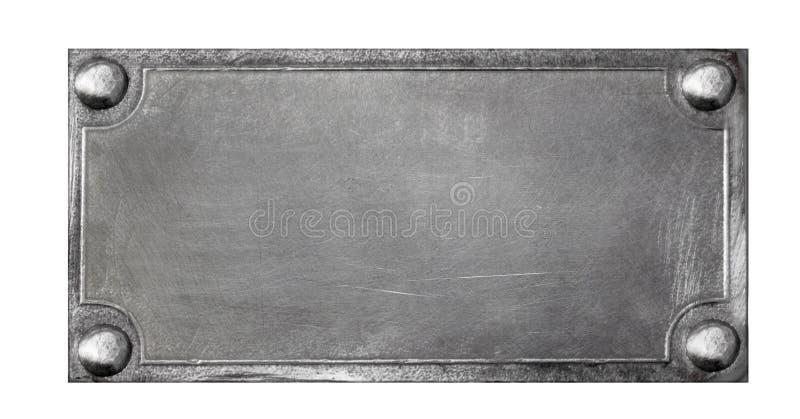Metaalplaat op witte achtergrond stock foto