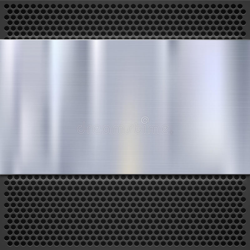 Metaalplaat over roostertextuur, roestvrij staal royalty-vrije illustratie
