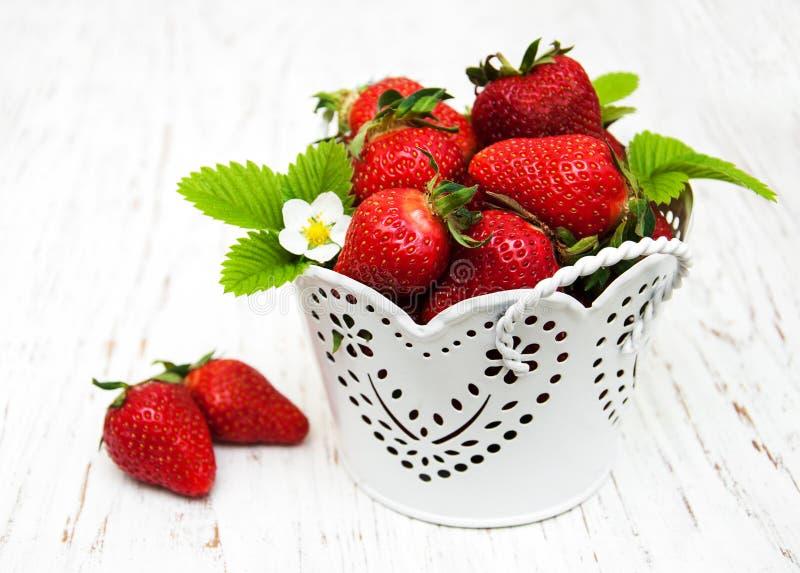 Metaalpot met aardbeien stock afbeelding
