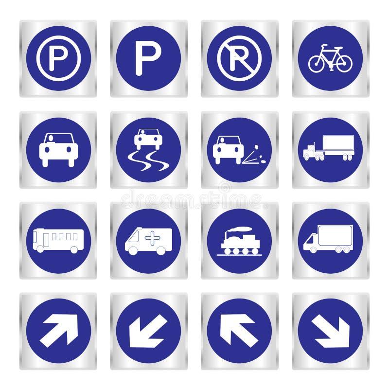 Metaalreeks blauwe vervoer en verkeersteken royalty-vrije illustratie