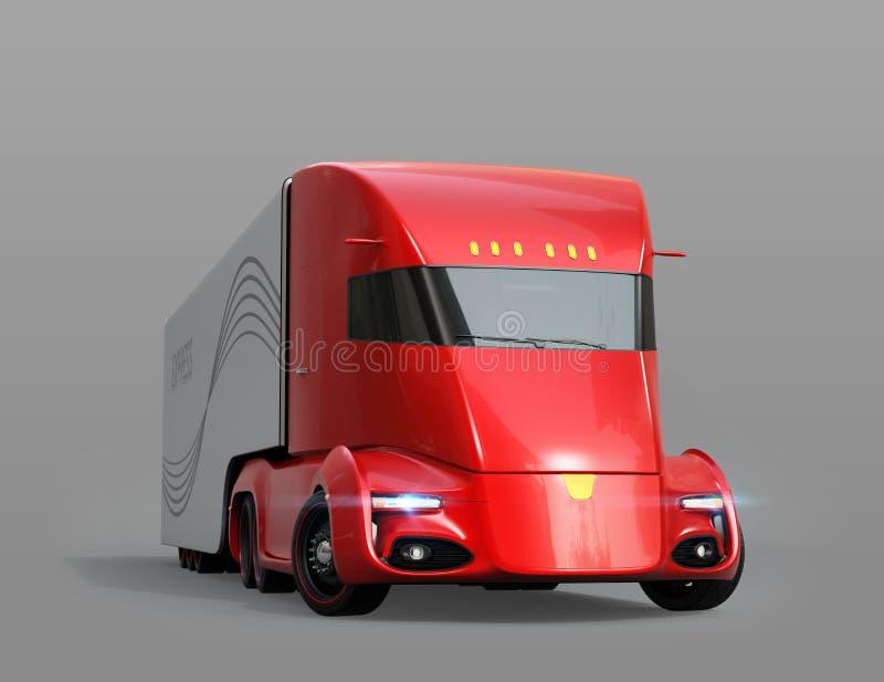 Metaalrood zelf-drijft elektrische semi die vrachtwagen op grijze achtergrond wordt geïsoleerd royalty-vrije illustratie