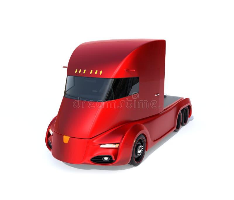 Metaalrood zelf-drijft elektrische semi die vrachtwagen op witte achtergrond wordt geïsoleerd vector illustratie