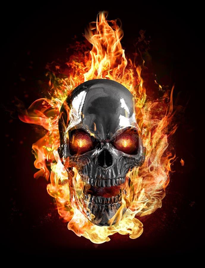 Metaalschedel, vlammen royalty-vrije illustratie