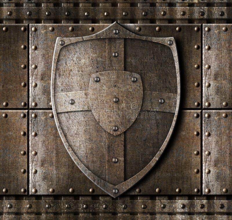 Metaalschild over pantserachtergrond royalty-vrije stock foto
