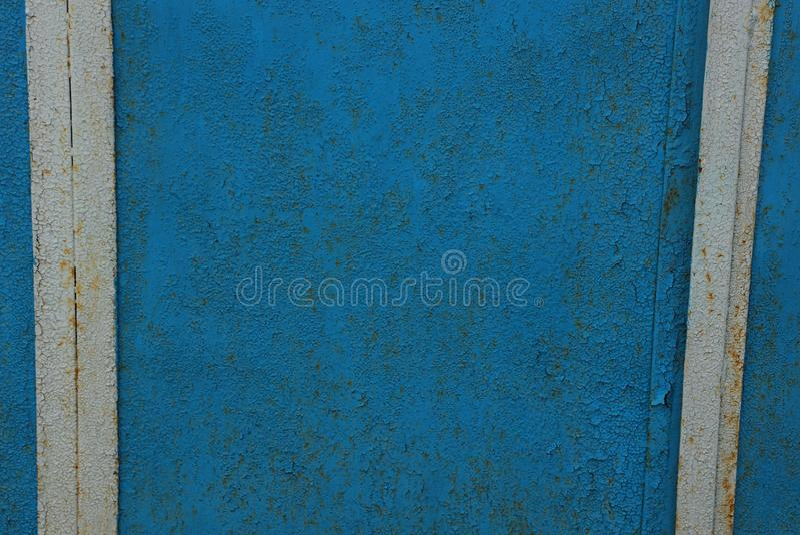 Metaaltextuur van oude blauwe muur royalty-vrije stock afbeeldingen
