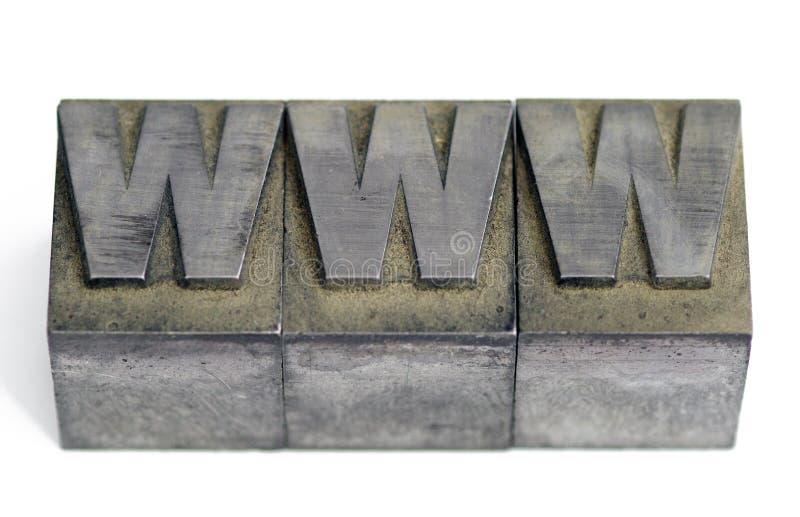 Metaaltype soorten linotype bij printshop spelling WWW royalty-vrije stock afbeeldingen
