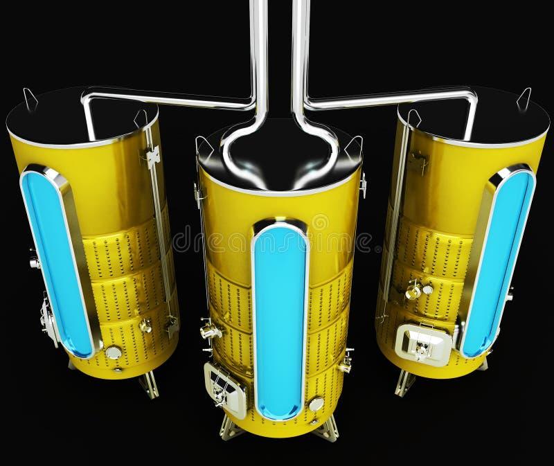 Metaalvat voor industriële doeleinden Capaciteit voor productie en opslag 3d illustratie vector illustratie