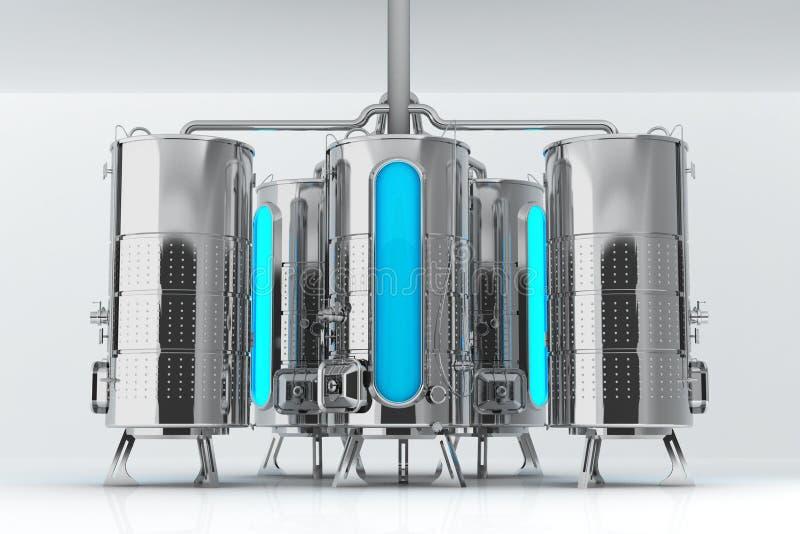 Metaalvat voor industriële doeleinden Capaciteit voor productie en opslag 3d illustratie stock illustratie