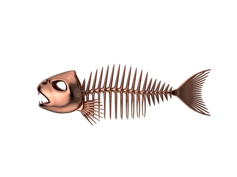 Metaalvissenskelet Geïsoleerdj op witte achtergrond 3D renderi vector illustratie