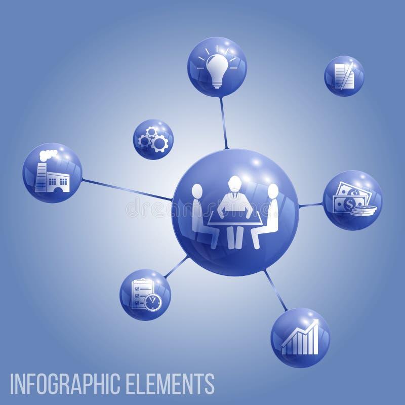 Metaball elementów kółkowa ikona szklane sfery z zintegrowanymi ikonami ilustracja wektor