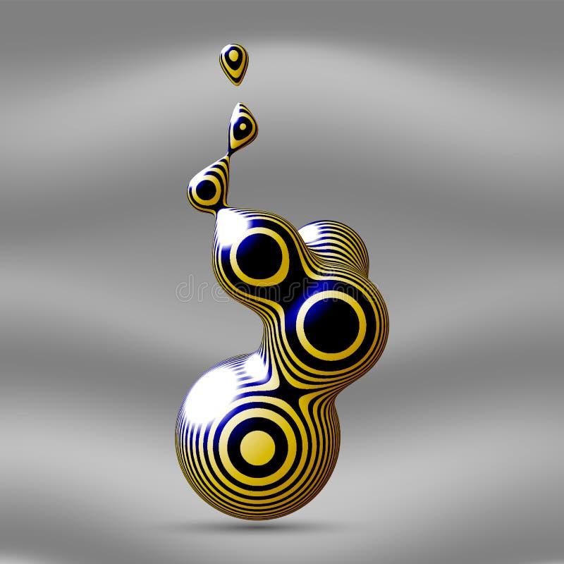Metaballelement met gestreepte textuur De vloeibare druppeltjes op een lichte achtergrond Vector illustratie royalty-vrije illustratie