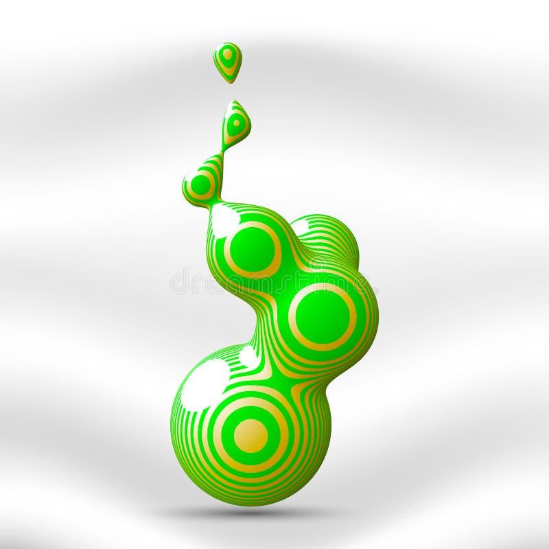 Metaballelement met gestreepte textuur De vloeibare druppeltjes op een lichte achtergrond Vector illustratie stock illustratie