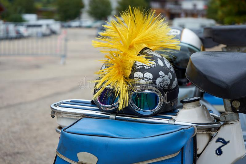 Metabief/Franche Comté/France/setembro de 2018: Um Helme lunático imagens de stock royalty free