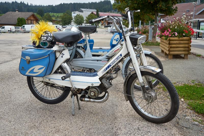 Metabief/Franche Comté/France/September 2018 : White 1970s Motob. Ecane M7 Parks At Oltimer Motorcycle Rallye stock photo