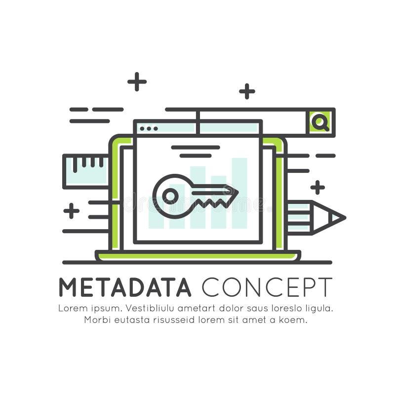 Metadata wybór słowa kluczowe lub zawartość, Odosobniony Nowożytny ilustracja wektor