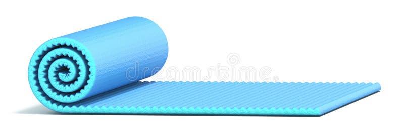 A metade azul rolou a esteira 3D da ioga ilustração do vetor