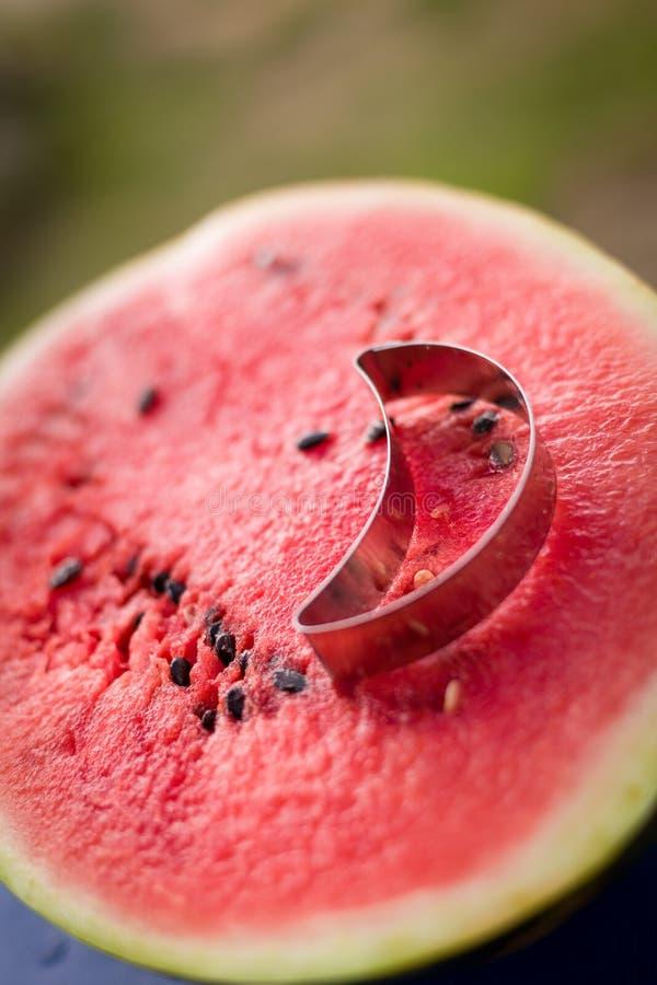 Metade cortada suculenta da melancia deliciosa e de um cortador da cookie Fruto do ver?o Dia ensolarado foto de stock royalty free