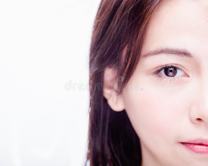 Metade da cara da mulher asiática imagem de stock