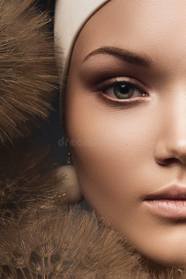 Metade da cara da mulher com dentes-de-leão imagens de stock royalty free