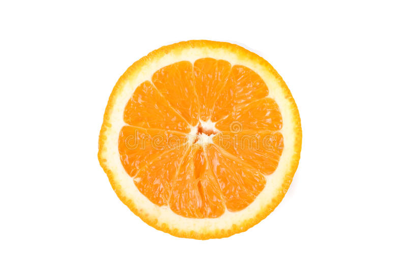 Metade da laranja isolada no fundo branco imagem de stock royalty free