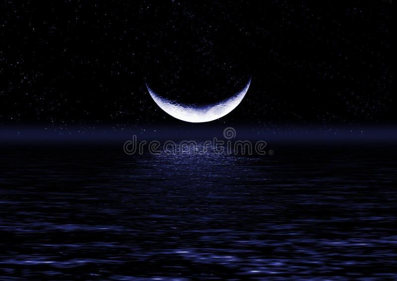 Metade da lua refletida na água imagem de stock royalty free