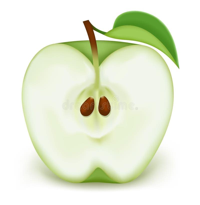 Metade de uma maçã verde ilustração stock