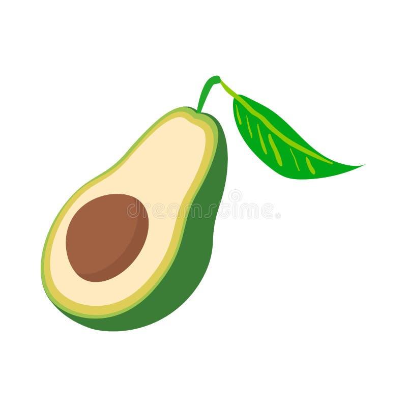 Metade do ícone do abacate, estilo dos desenhos animados ilustração royalty free