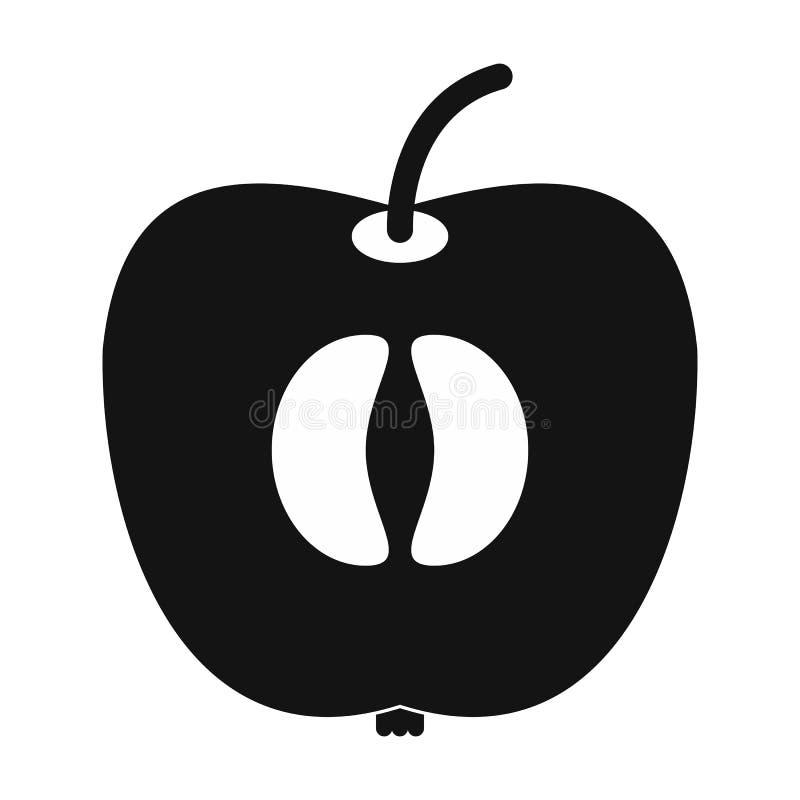 Metade do ícone fresco da maçã ilustração stock